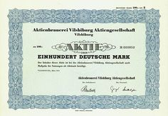HWPH AG - Historische Wertpapiere - Aktienbrauerei Vilsbiburg AG Vilsbiburg, März 1970, Aktie über 100 DM, Lit. B, #50