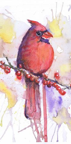 Cardinal Bird Painting Watercolor painting Love Birds by ValrArt