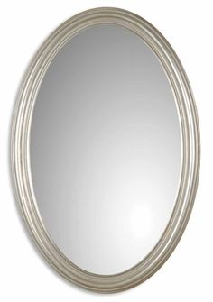 08601 P Franklin Antiqued SIlver Oval Mirror W 21 H 31