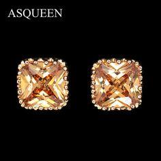 18K Gold Plated Princess Cut Stud Earrings #cuffearrings #goldearrings #hoopearrings #fashion #18kgold #girls #love #trendsetter #trendy