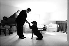 Ben would be pretty excited to do this!  obsessed with this pic. classy way to incorporate your dog into your wedding shoot!