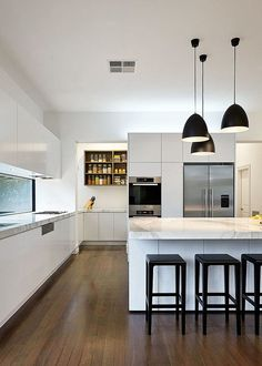 white kitchen with bell shape shade in matte black made of carbon steel. White kitchens are able to transform a home. If you want a cozy vintage or scandinavian kitchen, you need to use white in your modern kitchen ideas. See more home design ideas at htt Kitchen Interior, New Kitchen, Kitchen Decor, Kitchen Ideas, Kitchen Black, Kitchen Layout, Kitchen Supplies, Pantry Interior, Kitchen Lamps