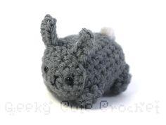 Gray Bunny Rabbit Yami Amigurumi Crochet Stuffed Plush Desk