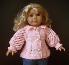 Pattern for sale on Ravelry; American Girl 18 inch doll beginner level knit sweater with video ~~ Knitting Dolls Clothes, Ag Doll Clothes, Crochet Doll Clothes, Knitted Dolls, Doll Clothes Patterns, Clothing Patterns, Doll Patterns, Cheerleading Outfits, American Doll Clothes
