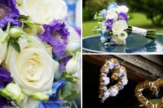 Beautiful blue wedding flowers at Laughton Barns.  Creative wedding photography in Sussex by http://www.dennisonstudios.com