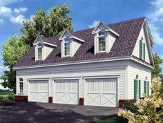 Garage Plan 80250 | Cottage    Plan with 846 Sq. Ft., 1 Bedrooms, 1 Bathrooms, 3 Car Garage