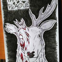 I am the #plague   #stag #draw #art #black #red #dark