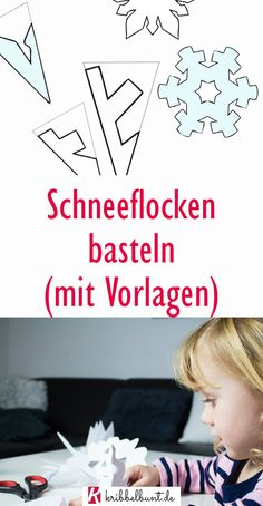 Basteln mit Kindern - kreative Ideen Snowflakes can be easily made with children from paper with tem Winter Art Projects, Winter Crafts For Kids, Winter Kids, Easy Crafts For Kids, Projects For Kids, Children Crafts, Diy Crafts To Do, Jar Crafts, Papier Kind