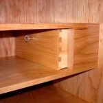 Secret compartment drawer in Shaker desk