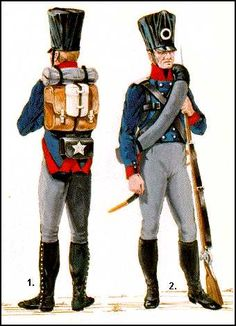 NAP- Prussia: The Prussian Army - 1815: 1. Rear view of a Fusilier of the 1st West Prussian Regt. in field dress, c.1815. 2.Front view of a Fusilier of the same regiment in field dress. c.1815. (Illustration By: Ugo Pericoli)