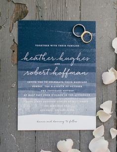Ombre navy blue wedding invitation: http://www.stylemepretty.com/pennsylvania-weddings/2015/11/27/elegant-outdoor-fall-wedding-with-an-apple-orchard-ceremony/ | Photography: Emily Wren - http://emilywrenweddings.com/