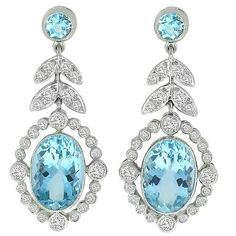 Edwardian Style Estate 7.86ct Oval & Round Cut Aquamarine and 2.00ct Round Cut Diamond 18k White Gold Drop Earrings