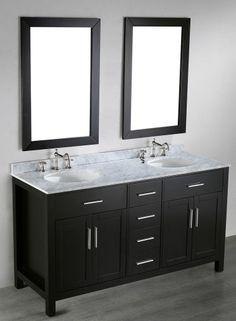 60 Inch Double Sink Wood Shaker Vanity Ebony 60 H X 22 W X 36 D