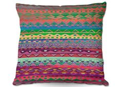 Throw Pillows Indoor Outdoor Decorative Unique Artistic | Nika Martinez's Ethnic Brazalet #dianoche #designs #nikamartinez #pillow #ethnic #indie #hippie #artistic #chic #home #decor #bedding #trend #pattern #colorful #beautiful #trend #couch