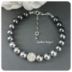 Swarovski Light Gray Pearl Ombre Single Strand Bracelet