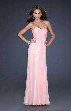 La Femme Dazzling Crisscross Strappy Back Sweetheart Gown 17437
