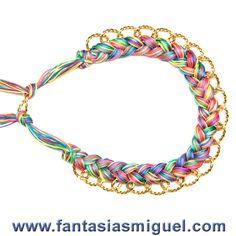 Collar De Cadena Con Cordón Espiga Multicolor - Como Hacer Manualidades - Fantasias Miguel