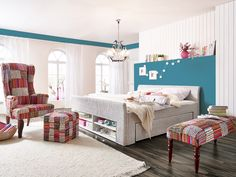 country style bedroom furniture bed with drawers colorful stools and chairs bett mit schubladen