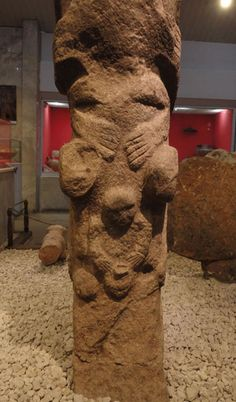 """This is a photo of a stone totem excavated at Gobekli Tepe """"of a non-human creature evolving into birth of human-like infant."""" Photographed at Urfa Museum in Liurfa, Turkey."""