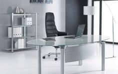 Minimalist Oval Glass Office Desk for Executive