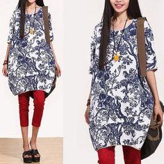 2color linen dress print dress women maxi dress short von buykud, $54.99