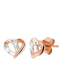 Rosegouden oorbellen hart met diamant - Lucardi.nl