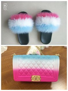 You will get the purse and the matching slides! Please write in the instruction tab to saler for Slide Sizes! Unique Handbags, Unique Purses, Cute Purses, Purses And Handbags, Chanel Handbags, Luxury Handbags, Black Ugg Slippers, Nike Slippers, Cute Slides
