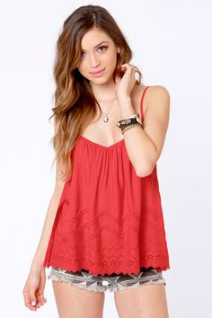 LuLu's BILLABONG Billabong Livin' Free Red Tank Top in Red.  $42.00