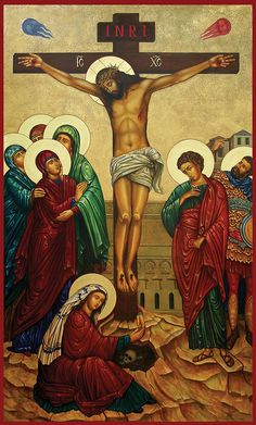 Crucifixion icon done for All Saints Catholic Church behind the altar - about 10 feet tall.