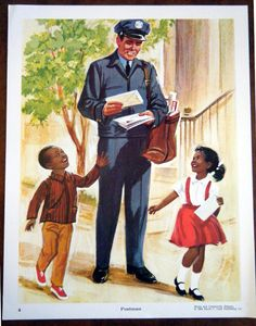Vintage School Poster Home and Community Helpers Teachers Aid Mailman Postman School Posters, Classroom Posters, School Classroom, Teachers Aide, Little Boy And Girl, Vintage School, Community Helpers, Mail Art, Vintage Children