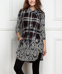 Black & Navy Floral Plaid Shawl Button Tunic Dress- Plus Too
