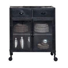 XXX Anrichte im Industry-Stil aus Metall mit Rollen und verglasten Türen, B 80cm, schwarz