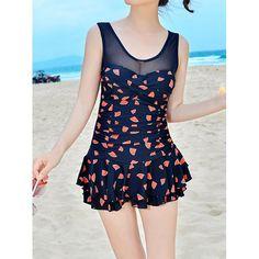 $18.26 Stylish Scoop Collar Flounced Printed One-Piece Women's Swimwear