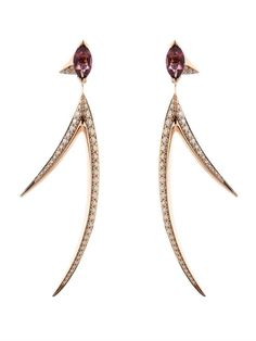 SHAUN LEANE Diamond, tourmaline & rose-gold earrings