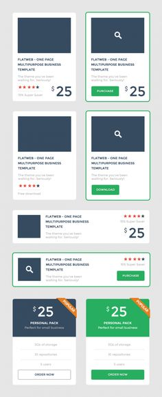 Flat Promo Blocks UI PSD Set