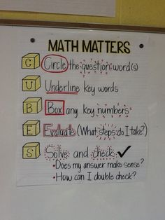 Problem solving approach acronym. Create an anchor chart for our room so the students can remember this. Also, make sure they write it in their math journals. by judy