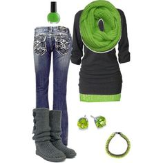 I think Im starting to like GREEN!! Cute Winter clothes. sub blue for the green. find more women fashion ideas on http://www.misspool.com find more women fashion ideas on www.misspool.com