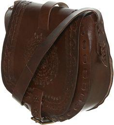 ShopStyle: Carved Pattern Leather Satchel
