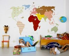 kids playroom wall idea with fabric map wall covering