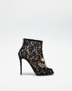 TAORMINA LACE PEEP TOE BOOTIE WITH JEWELED APPLIQUÉ   - Ankle boots - Dolce&Gabbana - Winter 2016