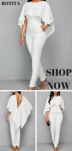 Zipper Closure White Open Back Jumpsuit.Solid white jumpsuit,you deserve it. Mode Hijab, African Dress, I Dress, African Fashion, Fashion Forward, Ideias Fashion, Fashion Dresses, Cute Outfits, Clothes For Women