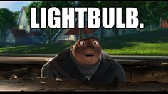 """Despicable Me: """"light bulb! Funny Images, Funny Photos, Vintage Funny Quotes, Funny Video Clips, Animation Stop Motion, Funny Quotes About Life, Life Quotes, Despicable Me, Funny Cat Videos"""