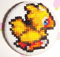 chocobo cross stitch pin