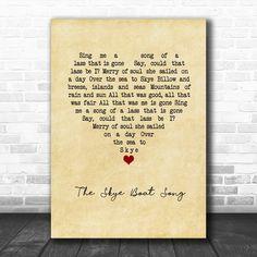 Bear McCReary The Skye Boat Song Vintage Heart Song Lyric Poster Print - Song Lyric Designs