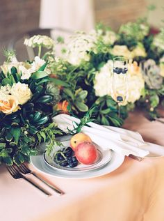 fruit tablescape - photo by Tracy Enoch Photography http://ruffledblog.com/organic-bohemian-wedding-inspiration