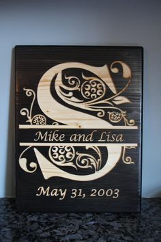 Last Name Initial, Letter S Sign, Split Letter, Engraved Wood Sign, Wedding Gift, Housewarming Gift, Anniversary Gift