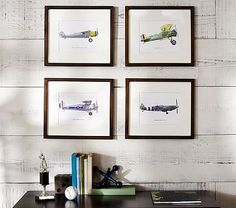Vintage Airplane Framed Set #pbkids will try to figure out how to DIY this for a fraction of the cost