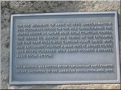 """""""On the morning of April 19, 1775, approximately 400 colonials stood on the hill overlooking the north bridge. As smoke rose from Concord Center, the order to march was given. In the exchange of fire that followed, Captain Isaac David, who had explained 'I haven't  a man who is afraid to go' was killed together with Abner Hosmer, A private, also from Acton.  This memorial was erected by the Captain Isaac Davis Chapter of the   Daughters of the American Revolution, april, 1975."""""""