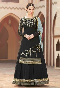 Black embroidered palazzo suit online the perfect for upcoming eid festival celebration. This designer palazzo suit is crafted from georgette fabric with exclusive embroidery and stone work also comes with georgette bottom and chiffon dupatta. Lehenga Choli, Lehenga Suit, Sharara Suit, Lehenga Style, Party Wear Lehenga, Churidar, Salwar Suits, Punjabi Suits, Pakistani Sharara