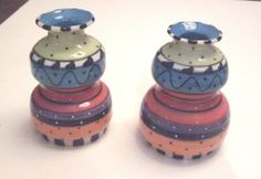 "Handmade Pottery Candle Holders - set of 2 by American Artist Pottery. $32.00. No two sets exactly alike as all are handmade. Approximately 4"" high. Handmade in the USA. See our complimentary cracker tray. Enjoy items, like these candle holders, that are handmade in the USA by an American artisan."